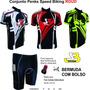 Conjunto Penks Speed Biking Roud Camisa +bermuda Com Bolso