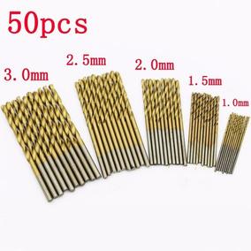 Kit C/50 Brocas Titanium Madeira Plastico Aluminium 1 Á 3 Mm