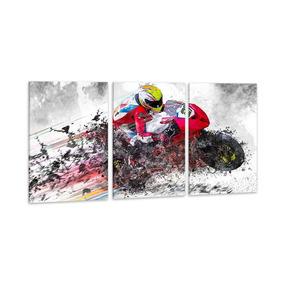 Quadro 60x120cm Moto Gp Esporte Aquarela Decorativo Salas
