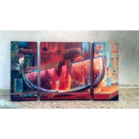 Cuadro Al Oleo Sandia 3 Piezas Arte Mexicano Decorativo