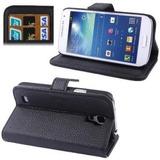 Capa Carteira Case Preta Samsung Galaxy S4 Mini