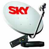 Sky Pré Pago Hd + Antena 60cm C/ Lnb Duplo C/ Cadastro Globo