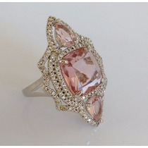 Anel Grande Feminino Cristal Turmalina Rosa Banhado Ouro