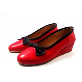 Sam123 Zapatos Taco Chino De Cuero Talles Grandes Rojo