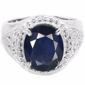 Anel Em Prata 925 Nr.19 Com Safira Azul Natural E Zircônias