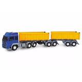 Novo Caminhão Brinquedo Carreta Bitrem Caçamba Areia Brita