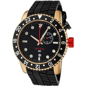 Red Line Hombres Classic Gmt Negro Dial Negro Silicona Wat