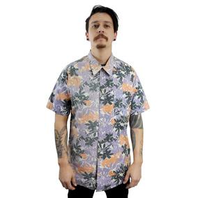 Antifashion - Camisa De Botones Manga Corta Estampado Hojas
