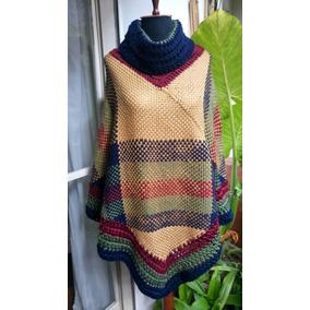 Poncho Tejido Artesanal Telar Crochet Lana S M L Talles