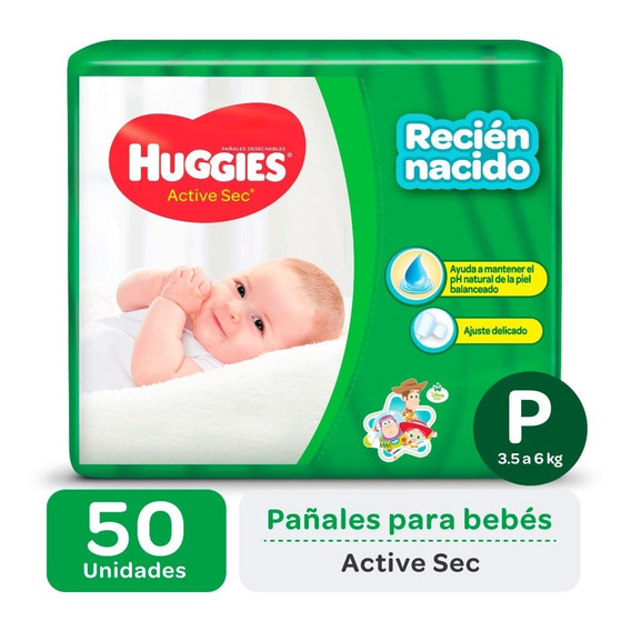 Pa?ales Huggies Active Sec Talle P Promopack X 50 Unidades