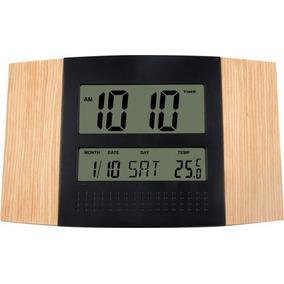 Relógio Parede Digital Calendário Preto Madeira Herweg 6438