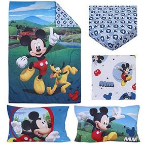 Disney 4 Pieza Toddler Bedding Set, Mickey Mouse Playhouse