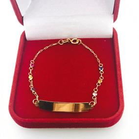 ef77772c60e7c Pulseira Ouro Bebe Zirconia E Placa - Pulseiras e Braceletes no ...