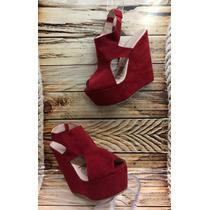 Sandalia Moda Plataforma Mujer Dama Roja Proveedor Calzado