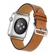 Pulseira Couro Estilo Hermes P/ Apple Watch 42/44mm - Marrom