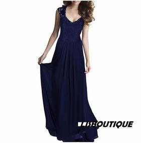 Vestido Festa Azul Escuro Mari Renda Formanda Madrinha Pront