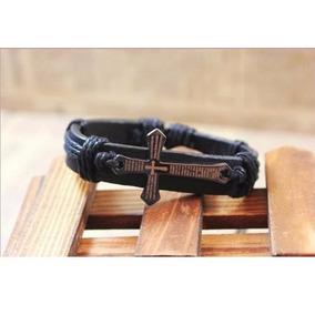 2 Pulseira De Couro Moda Masculina Cruz Fé Religião Igreja
