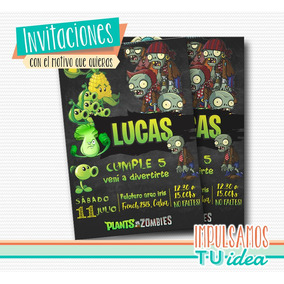 Plants Vs Zombies, Invitación Plants Vs Zombies Imprimible