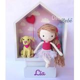 Porta Maternidade Casinha Menina Com Cachorro Em Crochê