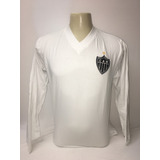 Camisa Atletico Mineiro Gola V Passeio Manga Longa Branca