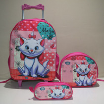Kit Mochila Infantil Escolar Gatinha Marie Jr