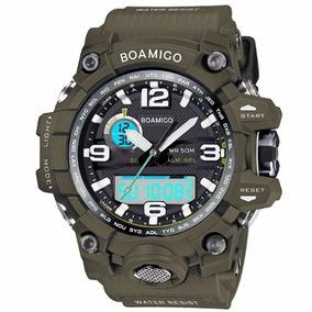 Relógio Militar S-shock Analógico Digital Prova D`água Verde