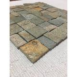 Mosaico De Piedra Lima Plata. Malla De 30x30 Cm Para Paredes