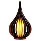 Luminaria Abajur Gota De Madeira C/ Soquete E-27 De 30cm