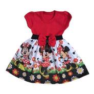Vestido Minnie Vermelha Temático Infantil Aniversário