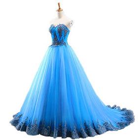Vestido Debutante Festa 15 Anos 2457 Noivas Azul Plus Size