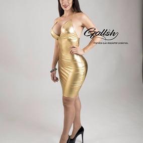 Vestido Corto De Dama Dorado De Noche