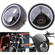 Faro Delantero Moto Led 6.5  Angel Eye Cafe Racer Custom Pem