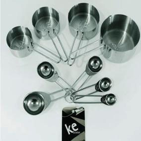 Medidores Kit 9 Pçs Medidor Xícara E Colher Aço Inox Kehome