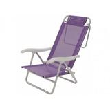 Cadeira De Praia Aluminio Sol De Verão Fashion Roxa - Mor