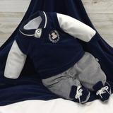 Saída De Maternidade Beth Bebê Azul Masculino Principe Luxo