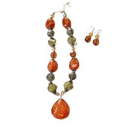 Collar Y Aretes Piedras Naturales Naranja Importado Texas