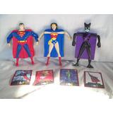 Lote De 3 Muñecos Superheroes + 4 Cartas - Mc Donald 2007
