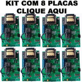 Kit 08 Centrais Portao Eletronico Placa Universal C/ Alarme