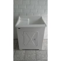 Tanque Lavar Roupas De Fibra 35 Litros Lateral C/ Gabinete