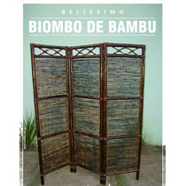 Biombo De Bambu Divisória 03 Partes