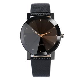 Relógio Quartz Unissex Pulseira De Couro Ecológico Preto