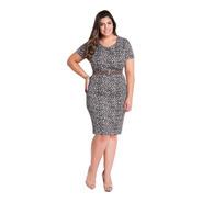 Vestido Moda Evangélica Plus Size Tubinho De Festa Midi Onça