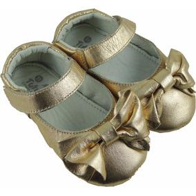 Sapato Bebe Menina Couro Baby Loop - Dourado