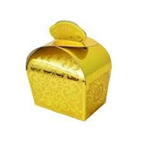 Caixa De Papel Decorada Valise Ouro C/ 12 Unidades *