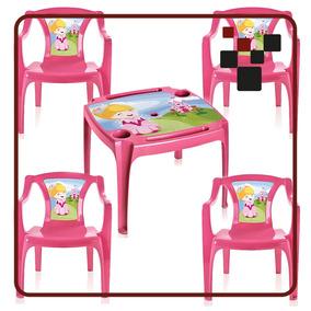 Mesa Mesinha Infantil Com 4 Cadeiras Princesas Menina Rosa