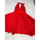 Vestido Rojo Elegante Con Escote En La Espalda