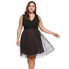 Vestido Negro Corto Tul Chic Talla Extra