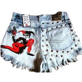Short Jeans Customizado Arlequina