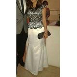Vestido Fiesta Largo Formal Negro Blanco Con Encaje Talla S