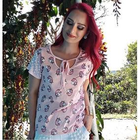 Camiseta Rosa Unicórnios Frete Grátis E Brinde!